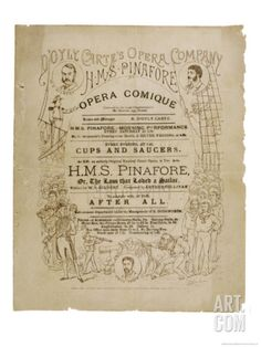Cover of the Programme for the Original Production of Pinafore by Gilbert and Sullivan Giclee Print by Programme at Art.com