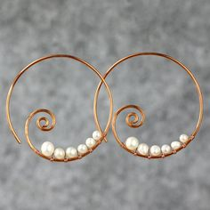 Pearl copper wiring scroll hoop earring handmade US freeshipping Anni Designs