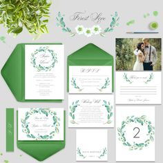 Spring Wedding Invitation Watercolour Leaves by PaperBoundLove