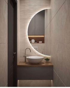 40 Outrageous Ideas For Your home Decor & Cozy Bathroom Washroom Design, Bathroom Design Luxury, Modern Bathroom Design, Small Toilet Room, Small Bathroom, Round Bathroom Mirror, Modern Bathroom Mirrors, Cozy Bathroom, Unique Mirrors