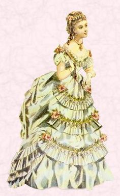 Costume history picture of tiered frill bustle dress fashion.