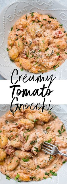 This creamy tomato gnocchi recipe is comfort food at its best! It's easy and convenient (it's all cooked in one pan), fast (ready in less than 30 minutes), and absolutely delicious. #gnocchi #creamygnocchi #gnocchirecipe #tomatognocchi #onepanmeal