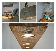 We just found this amazing light fixture made from reclaimed wood beam with a beautiful weathered grey patina and rusted …