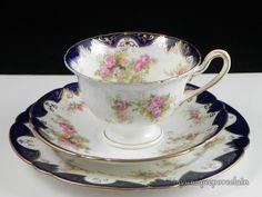 ANTIQUE WILEMAN FOLEY SHELLEY ENGLAND COBALT BLUE & FLOWER CUP SAUCER PLATE TRIO