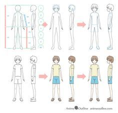 How To Draw An Anime Boy Full Body Step By Step Animeoutline Anime Boy Anime Guys Shirtless Anime Guy Blue Hair
