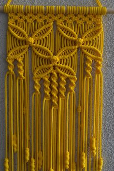 Wall panels handmade macram technique Material 100 polyester Color yellow Strap natural wood - pine Dimensions The length from the wooden plank to the bottom including the thread - 31 5 inches Width - 9 5 inches Macrame Design, Macrame Art, Macrame Projects, Macrame Knots, Macrame Wall Hanging Patterns, Macrame Patterns, Plant Hanger, Diy And Crafts, Decoration