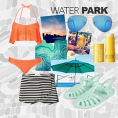 fora fun getaway!! by ahanagadhia on Polyvore featuring Topshop, Abercrombie & Fitch, Ray-Ban, Clinique, Summer, beachwear and waterpark