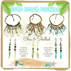 Boho Beach Fashion: Chic and Shelled Necklace Sets. Try these mother of pearl and bead mix necklace sets to spice up your summer outfits. See more @ http://www.navahadijewelry.com/2017/04/chic-shelled-necklace-sets.html