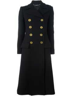 Alexander McQueen double breasted coat, Women's, Size: 42, Black, Cupro/Virgin Wool
