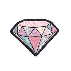 "2.4"" pastel rainbow Cut out diamond gemstone Embroidered Iron on patch Harajuku kawaii GOTH"