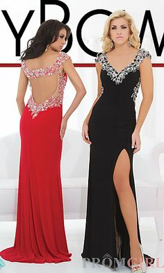 Long V-Neck Gown with Cut Out Back by Tony Bowls at PromGirl.com