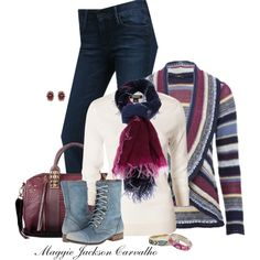 Striped Cardigan, created by maggie-jackson-carvalho on Polyvore