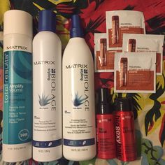 """Biolage Haircare Bundle Full Size (11oz) Amplify Hairspray, Full Size (16.9oz) Finishing Spritz, Full Size Freeze Fix Humidity Resistance Hairspray, Travel Size (1.7oz) Big Sexy Hair Thickening Spray, Travel Size (1.3oz) Thickening Hairspray, 4 Samples of Paul Mitchel Ultimate Color Repair Shampoo. All brand new. Tagged """"Mac"""" for visibility MAC Cosmetics Makeup"""