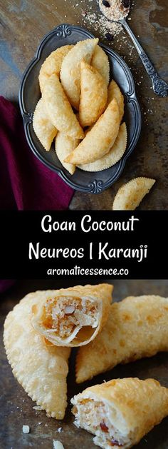 goan neureos are deep fried flaky pastry stuffed with coconut dried fruit filling