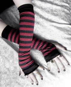 Items similar to Elderberry Arm Warmers - Brick Raspberry Red & Charcoal Heather Black Striped Cotton - Gothic Vampire Dark Gypsy Cycling Emo Yoga Light Goth on Etsy Dark Fashion, Emo Fashion, Fashion Wear, Gothic Fashion, Striped Gloves, Red Accessories, Punk, Gothic Vampire, Dark Gothic