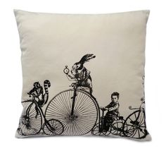 Velocipedes Penny Farthing screenprinted cushion