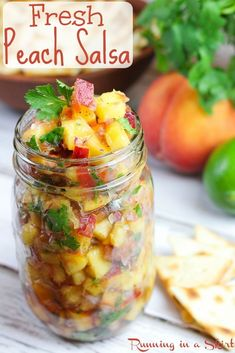 The Best Fresh Peach Salsa recipe. This 6 Ingredient simple, easy and healthy fruit salsa is perfect for summer. Uses lime juice, cilantro, jalapeno a. Peach Salsa Recipes, Fruit Recipes, Fish Recipes, Summer Recipes, Mexican Food Recipes, Coctails Recipes, Peach Recipes For Dinner, No Tomato Salsa Recipe, Mexican Dishes