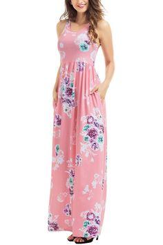 Robe Longue Fleurie Rose Boheme Sans Manches Poches Design Pas Cher www.modebuy.com @Modebuy #Modebuy #Blanc
