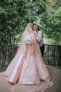 Blush Bride Blush Pink Wedding dress Laser cut fabric flowers on veil Designs by Maizy Colleen