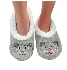 Snoozies Womens Animal Heads Sherpa Plush Fleece Lined Slipper Socks - Grey C...