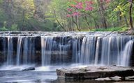 Anderson Falls - Anderson Falls is a low, wide waterfall located about 50 miles southwest of Indiana, and 15 miles east of Columbus. Here the Fall Fork of Clifty Creek drops over a 10+ foot high ledge. The falls is located in the Anderson Falls Park/State Nature Preserve.
