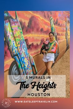 Houston Murals. Check out my blog post for the location on this Cadillac ranch mural in The Heights Houston. Most instagrammable spots in Houston. Houston Murals, Houston Tx, Heart Location, Houston Heights, Sunset Colors, Texas Travel, Cadillac, In The Heights, Cute Pictures