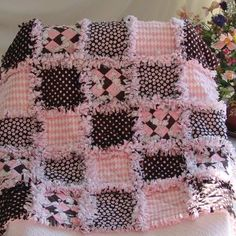 Baby Rag Quilt Pink and Brown Poodles