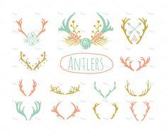 21 Antlers Clipart // EPS and PNG // Instant Download // Reindeer Horns // Reindeer Antlers