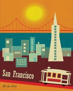 Retro 50's style of Downtown San Francisco, California Skyline -  Vertical Travel Poster Print Art - style E8-O-SF5