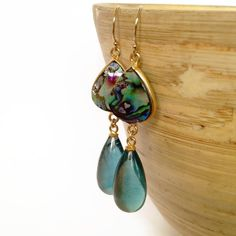 Abalone and Rainbow Fluorite Stone Earrings,  Beach Earrings, Stone Earrings, Shell Earrings, Aina Kai, Handmade on Maui, Hawaii