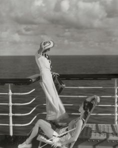Bound for Hawaii, Edward Steichen photographs two models on the deck of the cruise ship liner Lurline, 1934 #vogue365