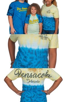 """PCOLA BA TIE DYE Unisex Tshirt SIZES: S - XXL Various shades of Blue (bottom) and Yellow (top) """"Blue Angels"""" on front """"Pensacola"""" on back (Through the dying process, each shirt is a unique item. Some items may appear 'green' as yellow + blue = green. Inking on shirts may seem as a 'blemish' but are part of the natural dying process.) Yellow Top, Blue Green, Us Navy Blue Angels, Shades Of Blue, Tie Dye, Unisex, Natural, T Shirt, Tops"""