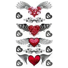 """Winged Heart Tattoos by C Visionary. $1.00. Chrome. Temporary Tattoo. 4x7. In Stock. 4 images of red hearts with black wings. 8 images of a decorative black and white heart that says """"love"""".. Save 50%!"""