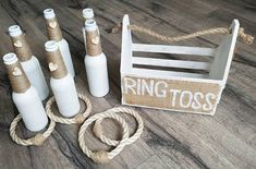 Ring Toss - White Bottles | Ring Toss Game | Wedding Game | Garden Game | Skittles Set | Vintage Game