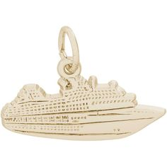 Rembrandt Charms Cruise Ship Charm, Gold Plated Silver. Hand Polished. High Polish Finish. Heavy-Duty Jump Ring. Lifetime Guarantee.