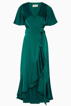 Temperley London - Open-back Duchesse-satin Wrap Dress - Emerald - Temperley London – Open-back Duchesse-satin Wrap Dress – Emerald Source by - Wrap Tie Dress, Dress With Bow, Trendy Dresses, Nice Dresses, Casual Dresses, Wrap Dresses, Temperley London Dress, Green Fashion, Women's Fashion
