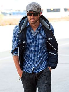 Ryan Reynolds in the 3/4 Placket Shirt in Blue Check