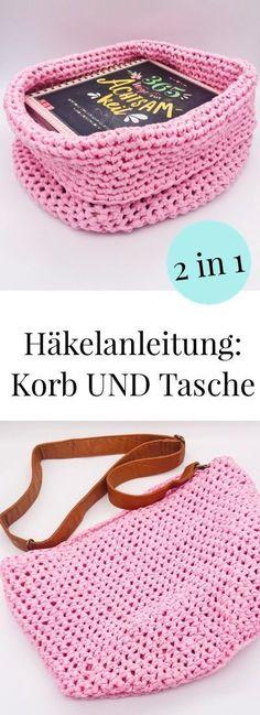 Häkelanleitung: Korb und Tasche in einem. Einfache Anleitung zum häkeln auf deutsch auch für Anfänger geeignet.