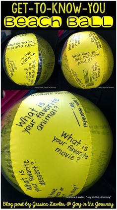 Fun and easy activity for back-to-school: use a beach ball to get to know your new class! Blog post by Jessica Lawler @ Joy in the Journey