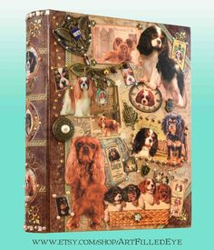 Embellished Faux Book Box Decoupaged Ruby-Tri color-Blenheim-Black & Tan King Charles Cavalier Spaniels-Memorial-Secret Safe-Jewelry-Gift by ArtFilledEye on Etsy