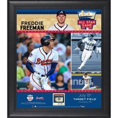 "Freddie Freeman Atlanta Braves Fanatics Authentic Framed 15"" x 17"" 2014 MLB All-Star Game Collage with Piece of Game-Used Baseball-Limited Edition of 50"
