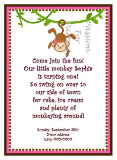 Diy printable first birthday Girl Monkey  by passionforparties,