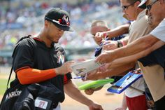 Gotta love Spring Training, you never know whose autograph you'll get! Maybe Giancarlo Stanton's! | #Marlins Spring Training
