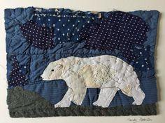 Polar Bear. Unframed Hand Appliqued and by MandyPattullo on Etsy
