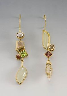 Janis Kerman: , 18k earrings with aquamarine, beryl, peridot, tourmaline, zircon, sapphire crystal and pearl. Asymmetrical lengths: approx 3...