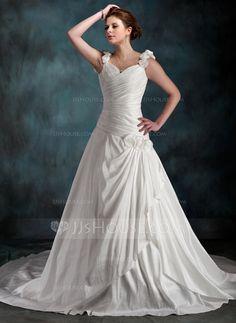 Wedding Dresses - $182.99 - A-Line/Princess Sweetheart Chapel Train Taffeta Wedding Dress With Ruffle Flower(s) (002011590) http://jjshouse.com/A-Line-Princess-Sweetheart-Chapel-Train-Taffeta-Wedding-Dress-With-Ruffle-Flower-S-002011590-g11590