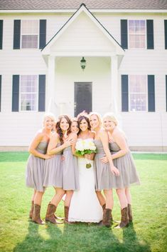 Grey and Cowboy Boots | Clane Gessel Photography | .... How about this with coral or navy blue dresses?