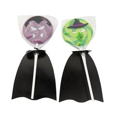Witch & Vampire Swirl Pops with Capes - OrientalTrading.com