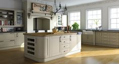 Bella Shaker kitchen in swiss pear. Shaker design, functional yet beautiful, inspired by belief and faith, a concentration on form and function. Inspiration for the modernists. Kitchen Doors Uk, Shaker Style Kitchen Cabinets, Kitchen In, Open Plan Kitchen Living Room, Shaker Style Kitchens, Kitchen Units, Green Kitchen, Kitchen Decor, Kitchen Ideas