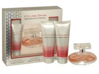 Celine Dion Sensational Trio Gift Set Top notes consist of frozen pear, apple and plum. In the heart of the perfume there are orris and mimosa along with floral waves of jasmine and freesia, while the base notes include amber, musk and sandalwood. Gift Set includes: Eau De Toilette 30ml, Body Lotion 75ml and Shower Gel 75ml